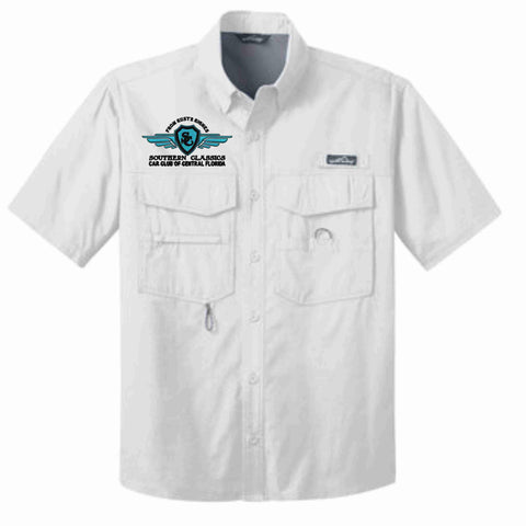 Image of Southern Classics Cars Club- Mens Button Down Fishing Shirt-White Fishing Shirt Becky's Boutique