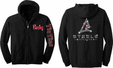Steele Athletics Cheer Zip Up Hoodie Sweatshirt- Tin Tins Adult and Youth sizes-Zip Up Hoodie-Becky's Boutique-Youth XS-Beckys-Boutique.com