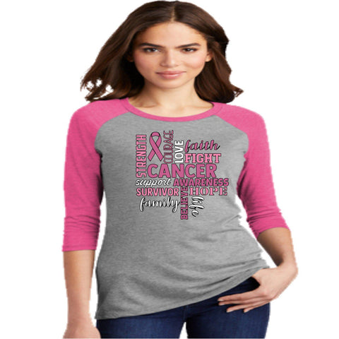 Strenght Courage Love Faith Fight - Western ladies 3/4 Sleeve Raglan Shirt-3-4 sleeve-Becky's Boutique-Extra Small-Beckys-Boutique.com