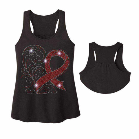 Stroke Awareness Spangle Bling shirt - Ladies Racerback Tank ladies racerback tank Becky`s Boutique Extra Small