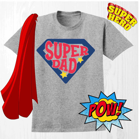 Super Dad - Short Sleeve Screen Printed Shirt Short Sleeve Crew Neck Mens Beckys-Boutique.com Small