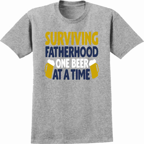 Surviving Fatherhood One Beer At a Time - Short Sleeve Screen Printed Shirt Short Sleeve Crew Neck Mens Beckys-Boutique.com