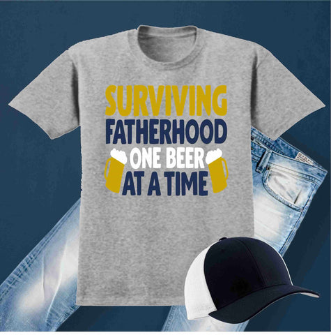 Surviving Fatherhood One Beer At a Time - Short Sleeve Screen Printed Shirt Short Sleeve Crew Neck Mens Beckys-Boutique.com Small