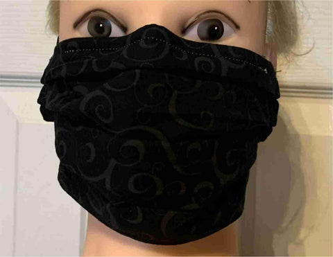 Image of Swirls Damask Face Mask, Adult and Child Sizes, For dust, travel, pet grooming, gardening and medical. Washable, Reusable with adjustable nose piece Face Mask Beckys-Boutique.com