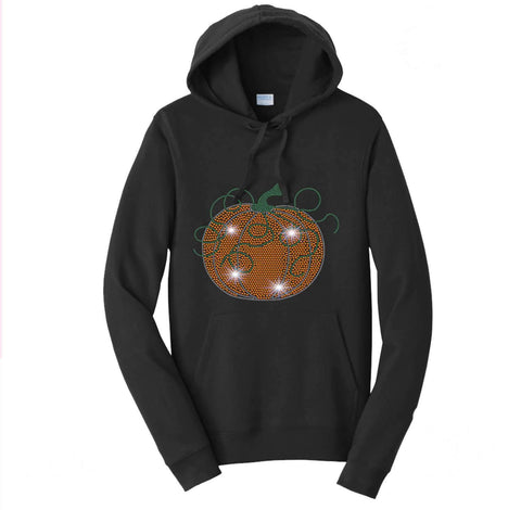 Swirly Pumpkin Halloween or Fall Spangle Rhinestone Bling shirt - Hoodie Sweatshirt Hoodie Sweatshirt Becky`s Boutique Extra Small
