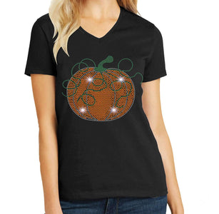 Swirly Pumpkin Halloween or Fall Spangle Rhinestone Bling shirt - available in adult, youth, short, long sleeve, tank or hoodie sweatshirt Holidays Becky's Boutique Womens Extra-small Womens short sleeve V-neck