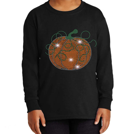 Swirly Pumpkin Halloween or Fall Spangle Rhinestone Bling shirt - Youth Long Sleeve Youth Long Sleeve Becky`s Boutique Extra Small
