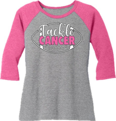 Tackle Cancer - Western ladies 3/4 Sleeve Raglan Shirt-3-4 sleeve-Becky's Boutique-Extra Small-Beckys-Boutique.com
