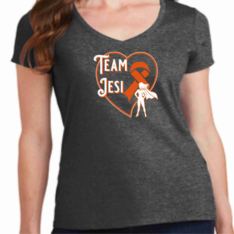 Team Jesi Bruchey-Leukemia Cancer Awareness- Womens V-Neck Short Sleeve shirt-Ladies Short Sleeve V-neck-Becky's Boutique-4XL-Design 3-Beckys-Boutique.com