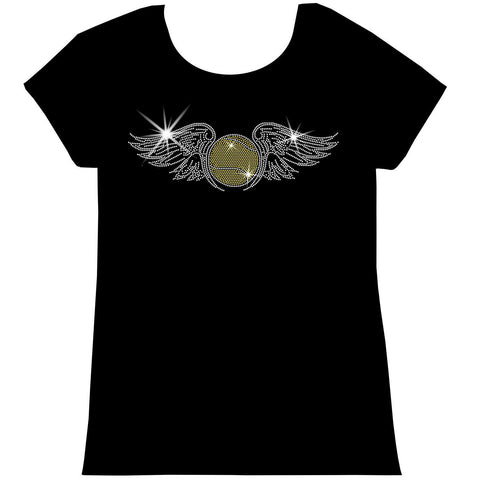 Tennis Ball with Wings Spangle Holographic Sparkle Spangle Bling Bling shirt -Youth Short, Long Sleeve, Tank or Hoodie Sweatshirt-Youth LS, SS, tank and Hoodie-Becky's Boutique-X-Small-Girls Short Sleeve-Beckys-Boutique.com