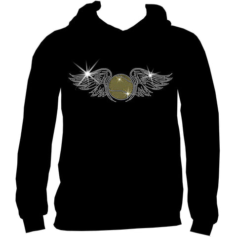 Tennis Ball with Wings Spangle Holographic Sparkle Spangle Bling Bling shirt -Youth Short, Long Sleeve, Tank or Hoodie Sweatshirt-Youth LS, SS, tank and Hoodie-Becky's Boutique-X-Small-Youth Hoodie Sweatshirt-Beckys-Boutique.com