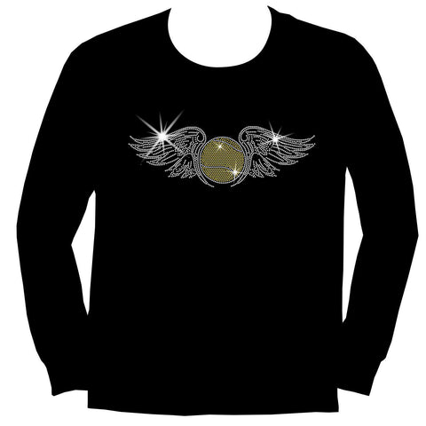 Tennis Ball with Wings Spangle Holographic Sparkle Spangle Bling Bling shirt -Youth Short, Long Sleeve, Tank or Hoodie Sweatshirt-Youth LS, SS, tank and Hoodie-Becky's Boutique-X-Small-Youth Long Sleeve-Beckys-Boutique.com