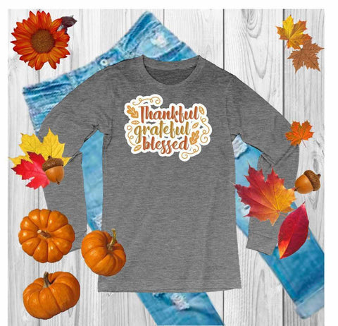 Thankful,Grateful,Blessed - Unisex Long Sleeve Crew Neck Shirt Unisex Long Sleeve Crew-Neck Beckys-Boutique.com Extra Small Gray