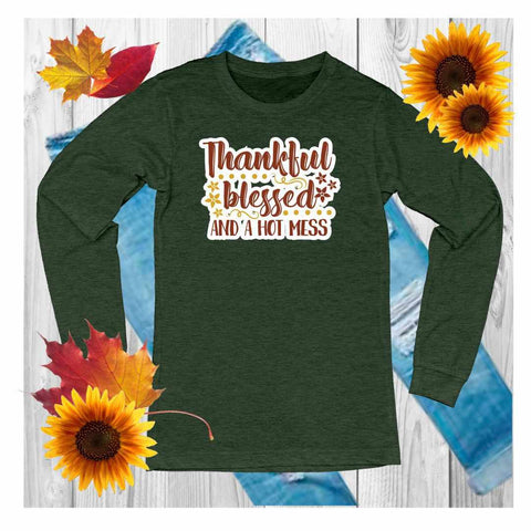 Thankful,Grateful,Blessed - Unisex Long Sleeve Crew Neck Shirt Unisex Long Sleeve Crew-Neck Beckys-Boutique.com Extra Small Green