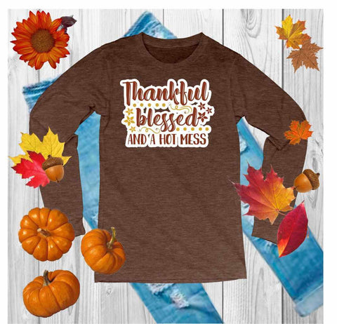 Thankful,Grateful,Blessed - Unisex Long Sleeve Crew Neck Shirt Unisex Long Sleeve Crew-Neck Beckys-Boutique.com Extra Small Heather Brown