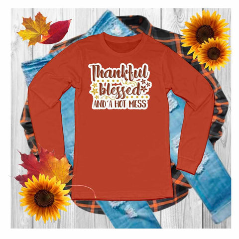 Thankful,Grateful,Blessed - Unisex Long Sleeve Crew Neck Shirt Unisex Long Sleeve Crew-Neck Beckys-Boutique.com Extra Small Orange