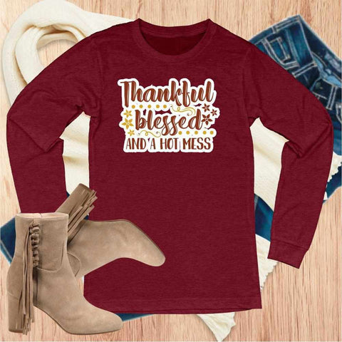 Thankful,Grateful,Blessed - Unisex Long Sleeve Crew Neck Shirt Unisex Long Sleeve Crew-Neck Beckys-Boutique.com Extra Small Red