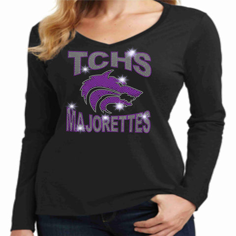 Timber Creek High School TCHS Ladies Long Sleeve Majorettes Shirt - Available in Purple, Gray and Black-Ladies Long Sleeve V-neck-Becky's Boutique-Extra-Small-Black-Beckys-Boutique.com