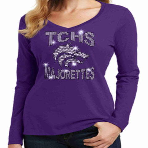 Timber Creek High School TCHS Ladies Long Sleeve Majorettes Shirt - Available in Purple, Gray and Black-Ladies Long Sleeve V-neck-Becky's Boutique-Extra-Small-Purple-Beckys-Boutique.com