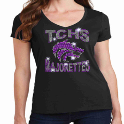 Timber Creek High School TCHS Ladies Short Sleeve Majorettes Shirt - Available in Purple, Black and Light Gray-Ladies Short Sleeve V-neck-Becky's Boutique-Extra-Small-Black-Beckys-Boutique.com