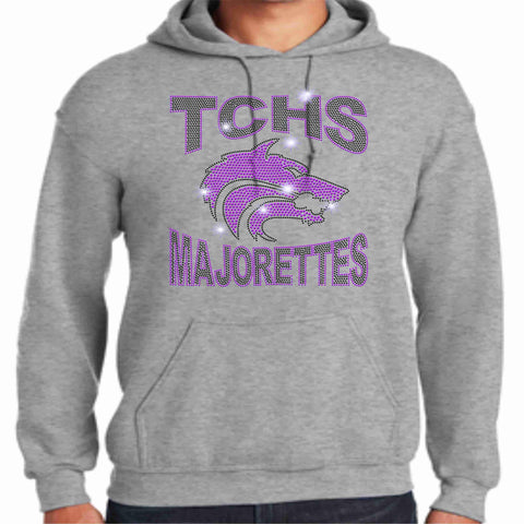 Timber Creek High School-TCHS Majorette Hoodie - Available in Black, purple and gray Hoodie Sweatshirt Beckys-Boutique.com Small Gray