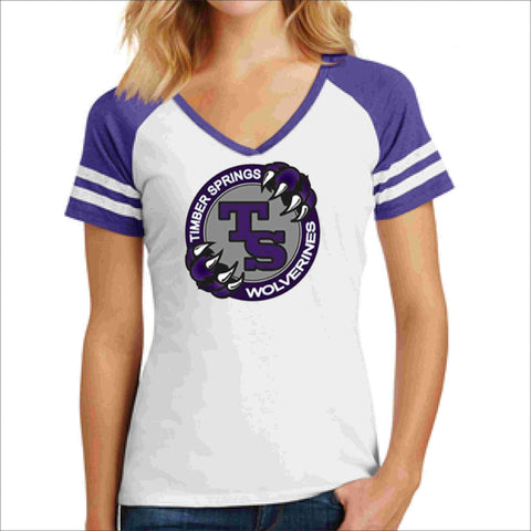 Timber Springs Middle - Jersey Shirt Screen Print Ladies Jersey T-shirt Beckys-Boutique.com Extra Small White