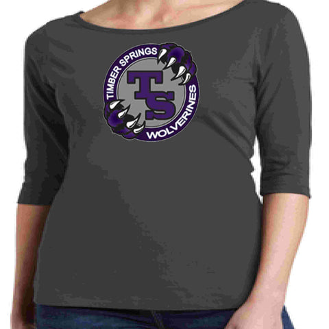 Timber Springs Middle - Ladies 1/2 Sleeve Boat Neck T-Shirt Screen Print Boat Neck Shirt Beckys-Boutique.com Extra Small Light Gray