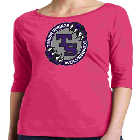 Timber Springs Middle - Ladies 1/2 Sleeve Boat Neck T-Shirt Screen Print Boat Neck Shirt Beckys-Boutique.com Extra Small Pink