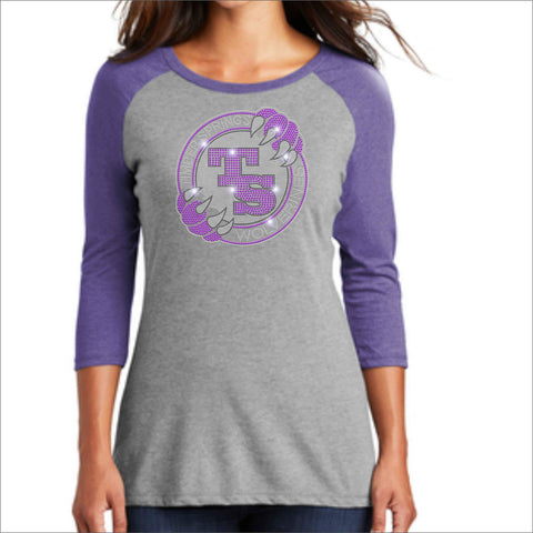 Timber Springs Middle - Ladies 3/4 Sleeve Raglan Baseball Heather T-Shirt Bling ladies baseball 3/4 sleeve t Beckys-Boutique.com Extra Small