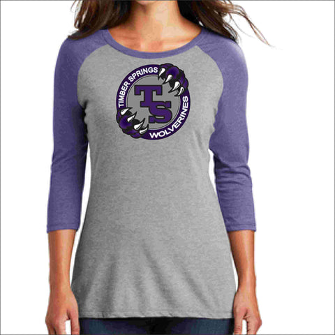 Timber Springs Middle - Ladies 3/4 Sleeve Raglan Baseball Heather T-Shirt Screen Print 3/4 sleeve shirt Beckys-Boutique.com Extra Small