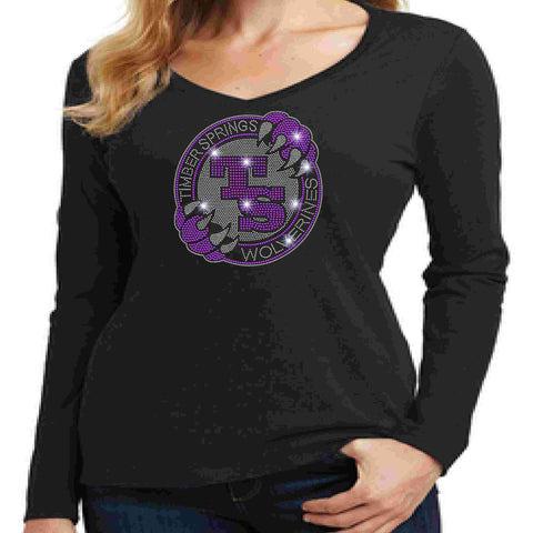 Timber Springs Middle - Ladies V-Neck Long Sleeve Shirt Bling Ladies Long Sleeve V-neck Beckys-Boutique.com Extra Small Black