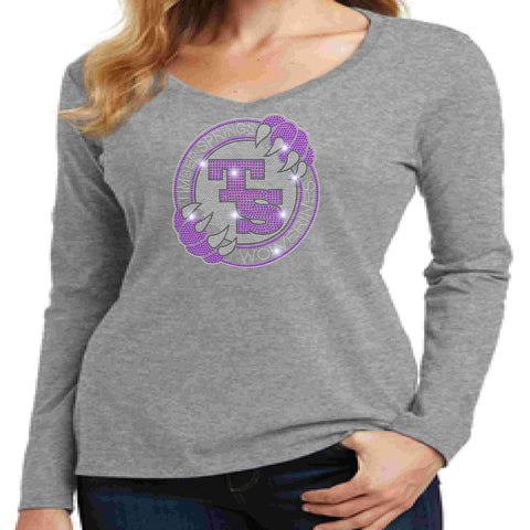 Timber Springs Middle - Ladies V-Neck Long Sleeve Shirt Bling Ladies Long Sleeve V-neck Beckys-Boutique.com Extra Small Light Gray