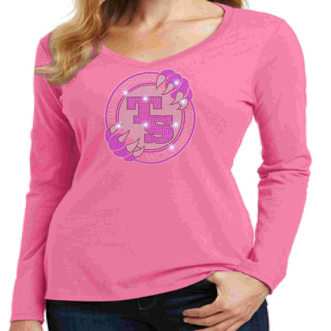 Timber Springs Middle - Ladies V-Neck Long Sleeve Shirt Bling Ladies Long Sleeve V-neck Beckys-Boutique.com Extra Small Pink