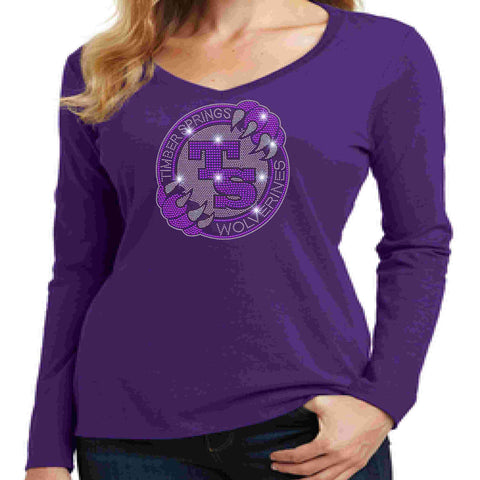 Timber Springs Middle - Ladies V-Neck Long Sleeve Shirt Bling Ladies Long Sleeve V-neck Beckys-Boutique.com Extra Small Purple