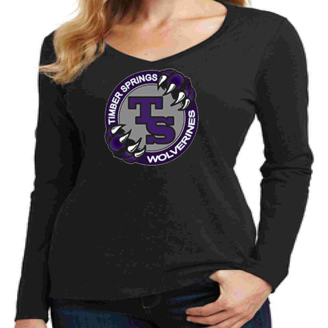 Timber Springs Middle - Ladies V-Neck Long Sleeve Shirt Screen Print Ladies Long Sleeve V-neck Beckys-Boutique.com Extra Small Black