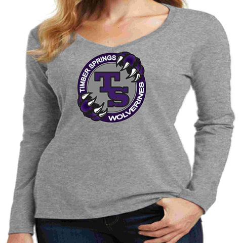 Timber Springs Middle - Ladies V-Neck Long Sleeve Shirt Screen Print Ladies Long Sleeve V-neck Beckys-Boutique.com Extra Small Light Gray