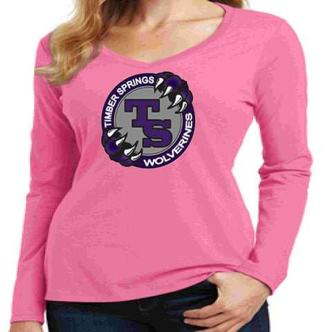 Image of Timber Springs Middle - Ladies V-Neck Long Sleeve Shirt Screen Print Ladies Long Sleeve V-neck Beckys-Boutique.com Extra Small Pink