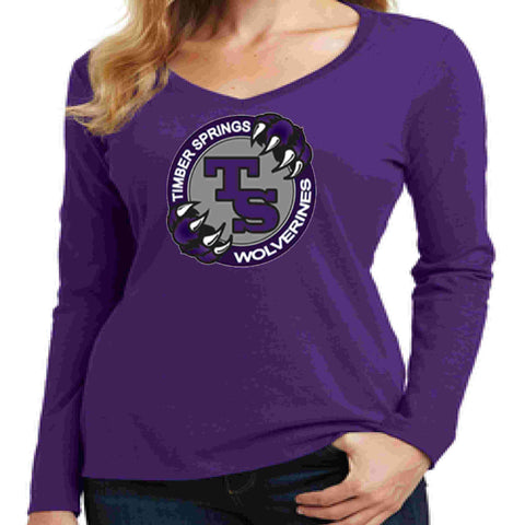 Timber Springs Middle - Ladies V-Neck Long Sleeve Shirt Screen Print Ladies Long Sleeve V-neck Beckys-Boutique.com Extra Small Purple