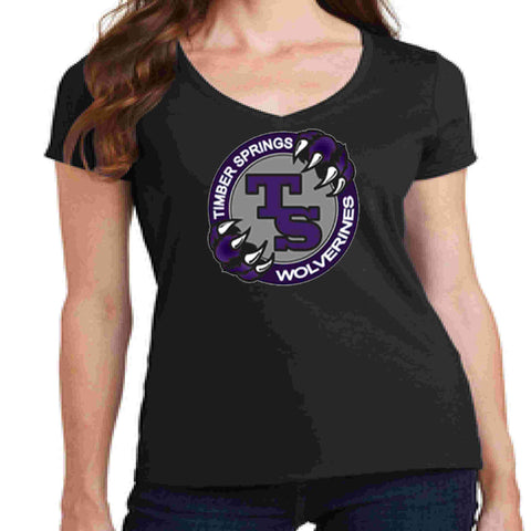 Timber Springs Middle - Ladies V-Neck Short Sleeve Shirt Bling Ladies Short Sleeve V-neck Beckys-Boutique.com Extra Small Black