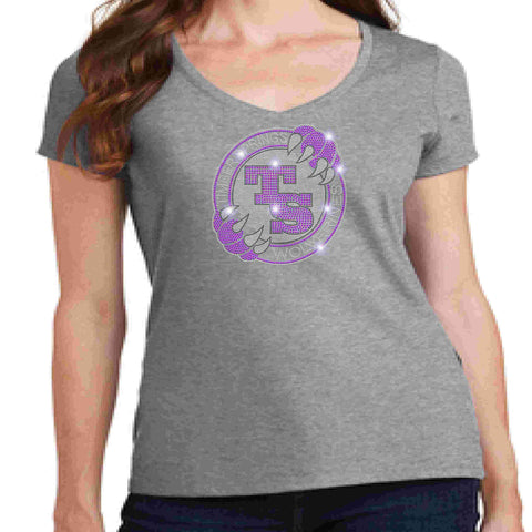 Image of Timber Springs Middle - Ladies V-Neck Short Sleeve Shirt Bling Ladies Short Sleeve V-neck Beckys-Boutique.com Extra Small Light Gray