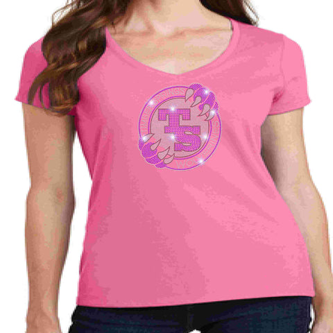 Image of Timber Springs Middle - Ladies V-Neck Short Sleeve Shirt Bling Ladies Short Sleeve V-neck Beckys-Boutique.com Extra Small Pink