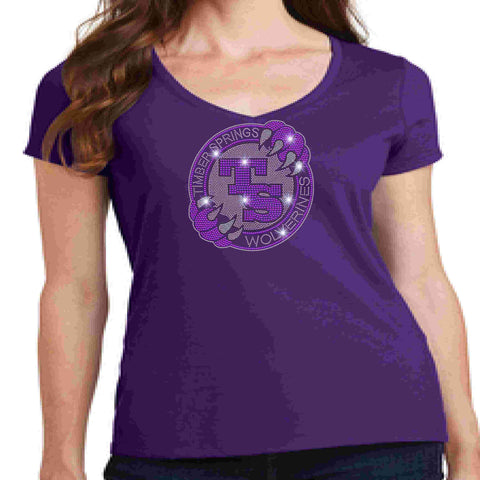 Image of Timber Springs Middle - Ladies V-Neck Short Sleeve Shirt Bling Ladies Short Sleeve V-neck Beckys-Boutique.com Extra Small Purple