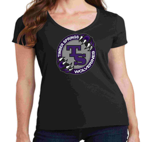 Timber Springs Middle - Ladies V-Neck Short Sleeve Shirt Screen Print Ladies Short Sleeve V-neck Beckys-Boutique.com Extra Small Black