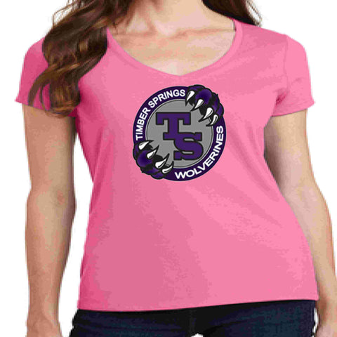 Image of Timber Springs Middle - Ladies V-Neck Short Sleeve Shirt Screen Print Ladies Short Sleeve V-neck Beckys-Boutique.com Extra Small Pink