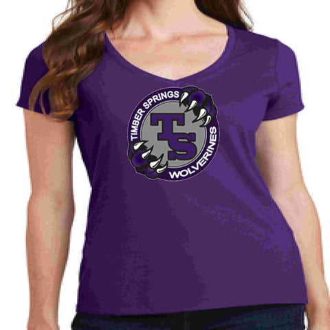 Image of Timber Springs Middle - Ladies V-Neck Short Sleeve Shirt Screen Print Ladies Short Sleeve V-neck Beckys-Boutique.com Extra Small Purple