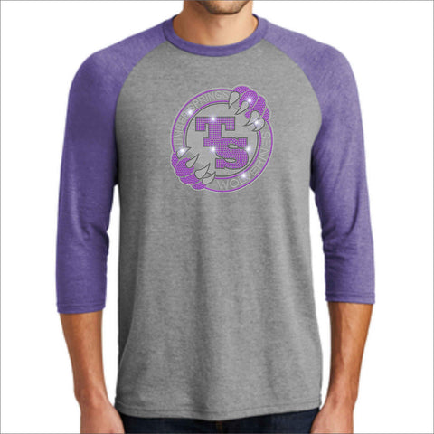 Timber Springs Middle - Mens 3/4 Sleeve Raglan Baseball Heather T-Shirt Bling polo Beckys-Boutique.com Extra Small