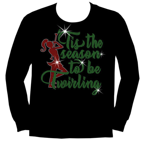 'Tis the Season to be Twirling! Youth Short Sleeve Crew Neck, Long Sleeve Crew Neck, Girls Tank Top, Youth Hooded Sweatshirt-Youth LS, SS, tank and Hoodie-Becky's Boutique-XS-Long Sleeve Crew Neck-Beckys-Boutique.com