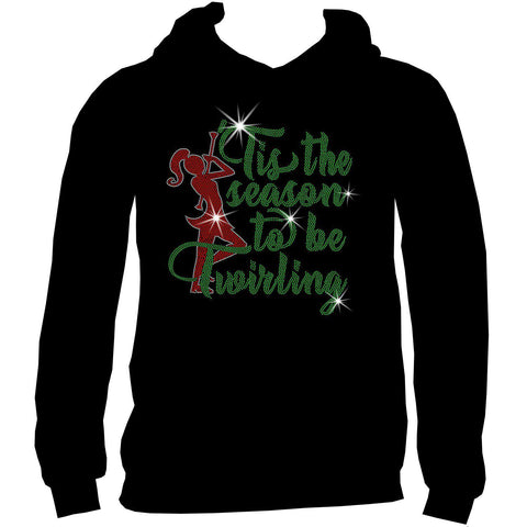 'Tis the Season to be Twirling! Youth Short Sleeve Crew Neck, Long Sleeve Crew Neck, Girls Tank Top, Youth Hooded Sweatshirt-Youth LS, SS, tank and Hoodie-Becky's Boutique-XS-Youth Hooded Sweatshirt-Beckys-Boutique.com
