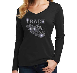 Track Running Shoe with wings Spangle Bling shirt - Ladies Long Sleeve V-Neck Ladies Long Sleeve V-neck Becky`s Boutique Extra Small