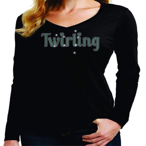 Twirling Leg Spangle Rhinestone Bling shirt - available in adult, youth, short, long sleeve, tank or hoodie sweatshirt Beckys-Boutique.com